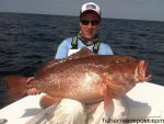 Matthew Stokely, of Wilmington, with a 27 lb. red grouper that bit a squid/cigar minnow combo at some bottom structure in 130' of water off Wrightsville Beach while he was fishing with Capt. Arlen Ash of Ultimate Reaction Charters.