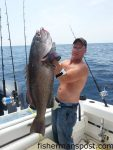"""Matthew """"Bambam"""" Huff, of Raleigh, with a 42.14 lb. gag grouper (3 lbs. off the state record) that attacked a 200g knife jig in 280' of water offshore of Frying Pan Tower while he was fishing aboard the """"Bubbles"""" out of Southport."""
