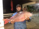 """Robert Auton with a 14 lb., 2 oz. mutton snapper that bit a Boston mackerel offshore of Beaufort Inlet while he was fishing on the headboat """"Capt. Stacy."""""""