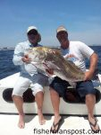 Capt. Robert and Cooter Schoonmaker with an estimated 70 lb. black drum that bit a Stingsilver just off Carolina Beach while they were fishing with their father, Capt. Charlie Schoonmaker of Back Bay Fishing Charters.