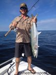 Matt Nelson with an 8.76 lb. spanish mackerel that bit a live finger mullet at some nearshore structure off Lockwood Folly Inlet while he was fishing with Capt. Kevin Sneed of Rigged and Ready Charters.