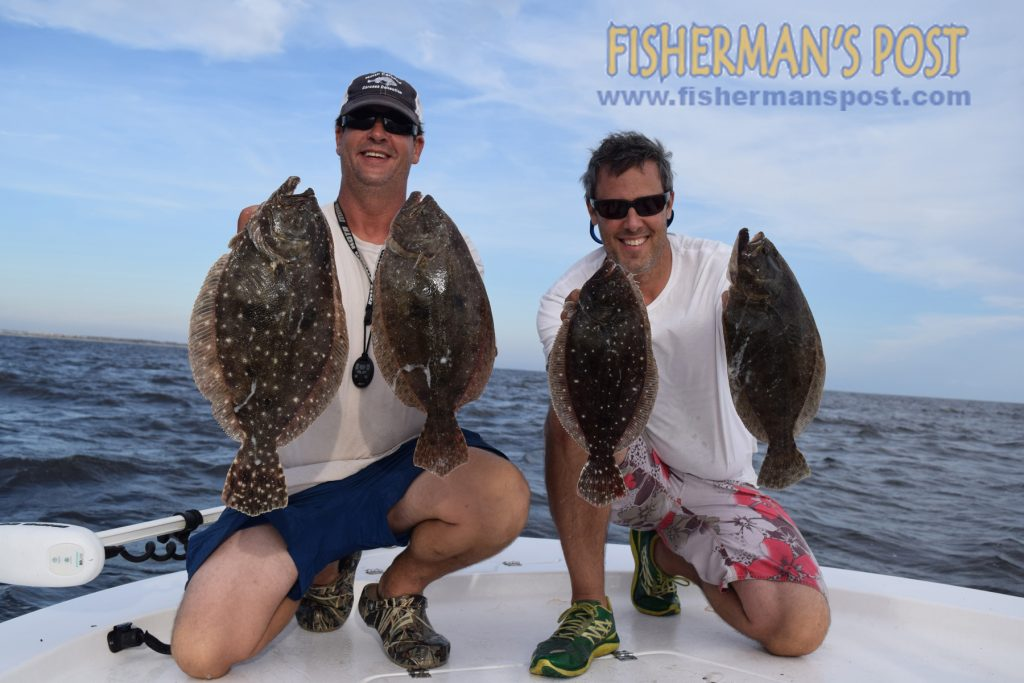 Capt. Justin Ragsdale (left), of Breakday Charters out of Atlantic Beach, and Fisherman's Post Publisher Gary Hurley with some of the keepr flounder caught at AR-315 using both live mullet and Breakday Bucktails.